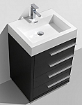 24 inch Black Finish Modern Bathroom Vanity with Four Drawers