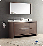 "60"" Modern Double Sink Bathroom Vanity Grey Oak Finish"