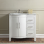 36 inch Single Sink Contemporary Bathroom Vanity White Finish
