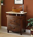 28 inch Adelina Vessel Sink Bathroom Vanity Dark Brown Finish