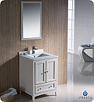 "24"" Antique White Traditional Single Bathroom Vanity with Top, Sink, Faucet and Linen Cabinet Option"