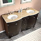 Accord Traditional 60 inch Double Sink Bathroom Vanity Dark Walnut Finish