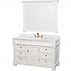"Andover 55"" Single Bathroom Vanity in White, Undermount Oval Sink, and 50"" Mirror with Countertop Options"