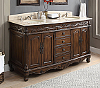 Adelina 63 inch Antique Bathroom Vanity, Cream Marble Countertop