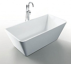 Virtu Serenity 67 inch White Soaking Bathtub Free Standing Center Drain