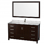 "Sheffield 60"" Single Bathroom Vanity in Espresso with Countertop, Undermount Sink, and Mirror Options"