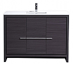 "Modern Lux 48"" Gray Oak Modern Bathroom Vanity with White Quartz Counter-Top"