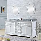 60 inch Traditional Double Sink Bathroom Vanity Marble Countertop