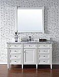 60 inch Contemporary Bathroom Vanity White Finish Optional Tops