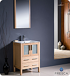 "24"" Light Oak Modern Bathroom Vanity with Faucet and Linen Side Cabinet Option"