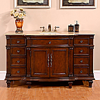 Accord Antique 60 inch Vintage Single Sink Bathroom Vanity Vein-Cut Top