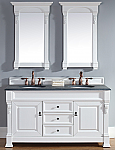 60 inch White Finish Double Traditional Bathroom Vanity Optional Tops