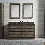 60 inch Rustic Finish Double Bathroom Vanity Moon Stone Granite Top
