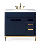 "36"" Modern Bathroom Vanity in Navy Blue Finish with Cream Marble Top"