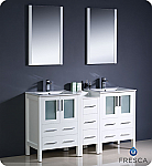"Fresca Torino 60"" White Modern Double Sink Bathroom Vanity"