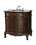 "34"" Adelina Antique Style Single Sink Bathroom Vanity with Coral Brown Granite Countertop and Walnut Finish"