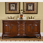 "Accord Antique 72"" Double Sink Cabinet - Travertine Top, Undermount Ivory Ceramic Sinks (3-hole)"