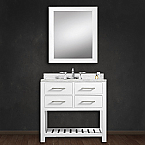 Cadale 30 inch White Finish Single Sink Bathroom Vanity