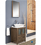 "24"" Vessel Sink Modern Bathroom Vanity Walnut Finish"