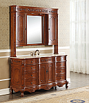 "60"" Antique Deep Chestnut Single with IMperial White Marble Top, Matching Medicine Cabinet"