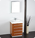 "24"" Teak Modern Bathroom Vanity with Faucet, Medicine Cabinet and Linen Side Cabinet Options"