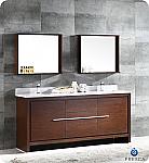 "Allier 72"" Modern Double Sink Bathroom Vanity Wenge Finish"