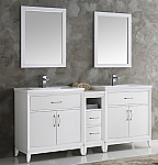 72 inch White Finish Double Sink Traditional Bathroom Vanity with Mirror