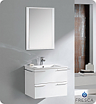 "White 24"" Modern Bathroom Vanity 
