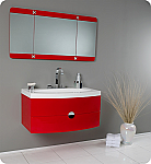 36 inch Red Finish Modern Floating Bathroom Vanity
