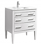 30 inch Contemporary Bathroom Vanity White Glossy Finish Pure White Quartz Top