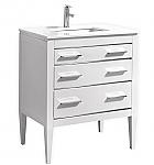 30 inch Contemporary Bathroom Vanity White Glossy Finish Pure White Quartz Top