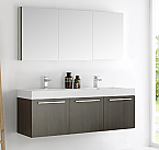 "60"" Gray Oak Wall Hung Double Sink Modern Bathroom Vanity with Faucet, Medicine Cabinet and Linen Side Cabinet Option"
