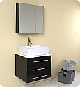 "Fresca Modella 24"" Espresso Modern Bathroom Vanity with Faucet and Linen Side Cabinet Option"