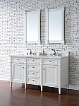 Abstron Contemporary 60 inch Double Sink Bathroom Vanity Cottage White Finish No Top