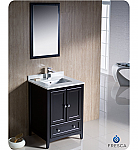 "24"" Espresso Traditional Single Bathroom Vanity with Top, Sink, Faucet and Linen Cabinet Option"