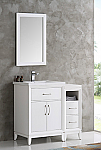 36 inch White Finish Traditional Bathroom Vanity with Mirror