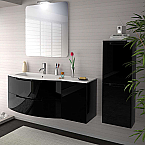 Anity 53 inch Modern Floating Bathroom Vanity Black Glossy Finish with Left Sink Top