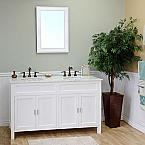 Bella 60 inch White Double Sink Bathroom Vanity