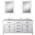 White 60 inch Double Sink Bathroom Vanity Carrara White Countertop