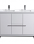 "Modern Lux 48"" Double Sink High Gloss White Modern Bathroom Vanity with White Quartz Counter-Top"
