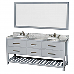 "Natalie 72"" Double Bathroom Vanity in Gray with Countertop, Undermount sinks, and Mirror Options"