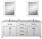 White 72 inch Double Sink Bathroom Vanity Marble Countertop