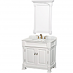 "Andover 36"" Single Bathroom Vanity in White, Undermount Oval Sink, and 28"" Mirror with Countertop Options"