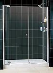 """DreamLine Allure 60"""" to 67"""" Inch Frameless Pivot Shower Door Chrome Finish"""