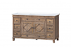 """Lancaster 60"""" Single Sink, Rustic Wood Finish with White Quartz Top"""