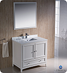 "36"" Antique White Traditional Bathroom Vanity with Top, Sink, Faucet and Linen Cabinet Option"