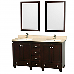"Acclaim 60"" Double Bathroom Vanity in Espresso, Undermount Square Sinks, and 24"" Mirrors with Countertop Options"