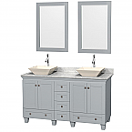 "Acclaim 60"" Double Bathroom Vanity in Oyster Gray with Countertop, Sinks and Mirror Options"
