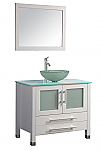 "36"" White Solid Wood & Glass Single Vessel Sink Vanity Set with a Chrome Faucet and Drain"