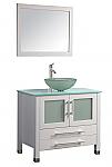 Acuba 36 inch Single Sink Modern Bathroom Vanity White Finish